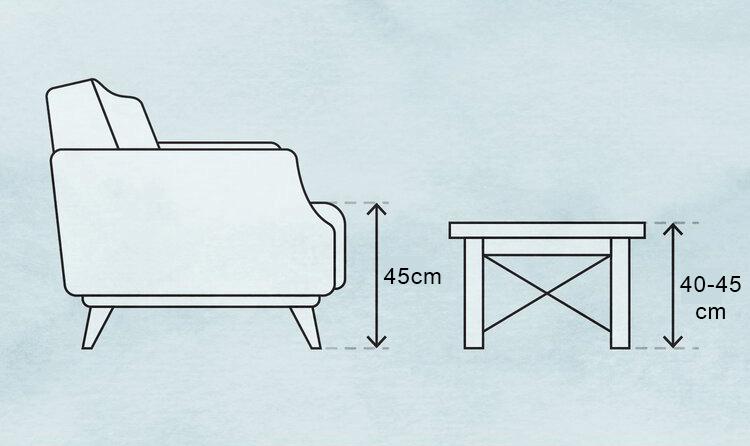 Độ cao tiêu chuẩn của bàn sofa