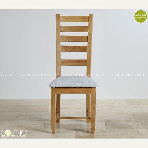 Ghế bàn ăn Holy gỗ sồi nệm vải trắng xám tại hà nội