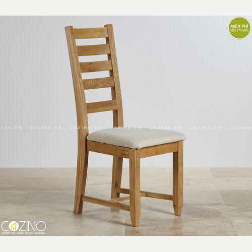 Ghế bàn ăn Holy gỗ sồi nệm vải vàng nhạt đẹp