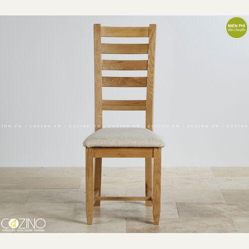 Ghế bàn ăn Holy gỗ sồi nệm vải vàng nhạt giá rẻ