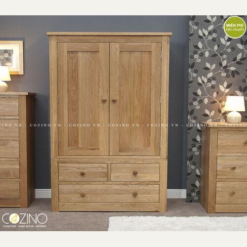 Tủ quần áo 2 cánh mở 3 ngăn kéo Torino gỗ sồi đẹp giá rẻ