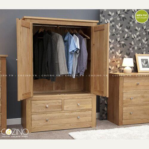 Tủ quần áo 2 cánh mở 3 ngăn kéo Torino gỗ sồi tại hà nội