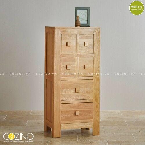 Tủ 6 ngăn kéo đứng Capri gỗ sồi xuất khẩu, đẹp giá rẻ