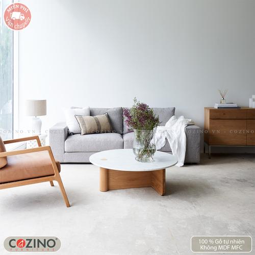 Bàn sofa, bàn trà Pivot gỗ sồi mặt marble- đẹp, giá rẻ tại hcm và hà nội