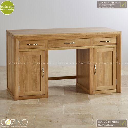 Bàn làm việc Camber có 2 tủ hông gỗ sồi Mỹ- đẹp, giá rẻ tại hcm và hà nội