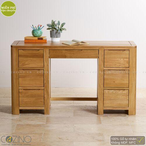 Bàn làm việc Emley có 2 tủ hông gỗ sồi Mỹ- đẹp, giá rẻ tại hcm và hà nội