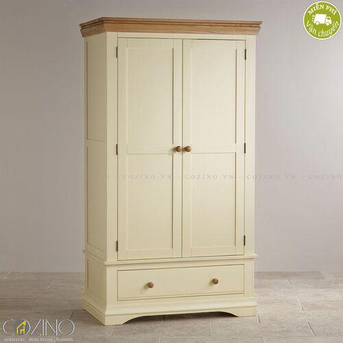 Tủ quần áo Canary 2 cánh 1 ngăn kéo gỗ sồi Mỹ (nhiều kích thước)- đẹp, giá rẻ tại hcm và hà nội