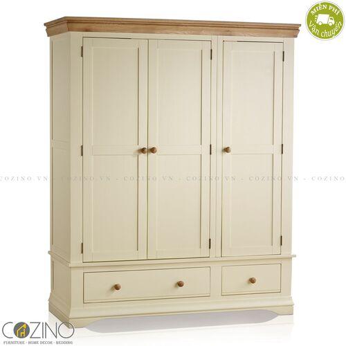 Tủ quần áo Canary 3 cánh 2 ngăn kéo gỗ sồi Mỹ (nhiều kích thước)- đẹp, giá rẻ tại hcm và hà nội