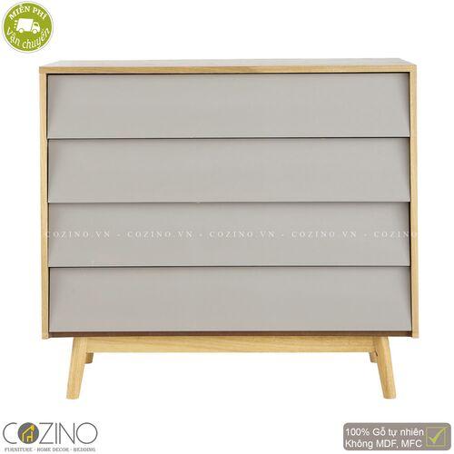 Tủ ngăn kéo Senja Vintage gỗ tự nhiên 4 ngăn màu ghi xám- đẹp, giá rẻ tại hcm và hà nội