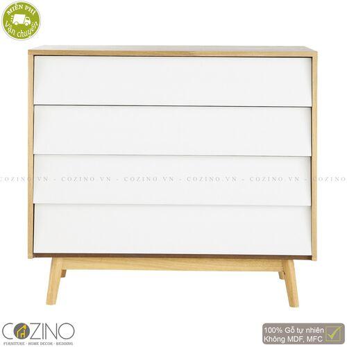 Tủ ngăn kéo Senja Vintage gỗ tự nhiên  4 ngăn màu trắng- đẹp, giá rẻ tại hcm và hà nội