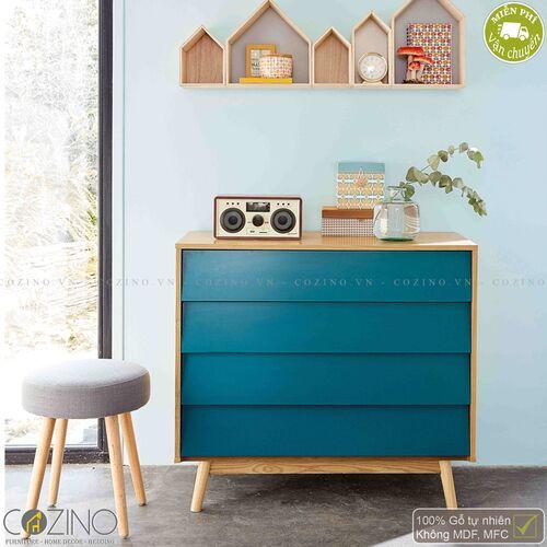 Tủ ngăn kéo Senja Vintage gỗ tự nhiên 4 ngăn màu xanh dương- đẹp, giá rẻ tại hcm và hà nội