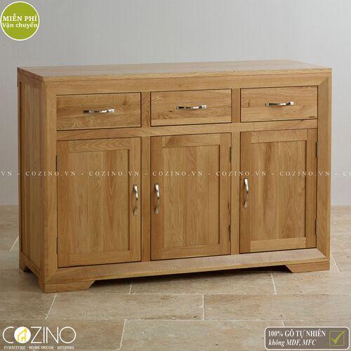 Tủ chén đĩa lớn Camber 3 cánh gỗ sồi Mỹ- đẹp, giá rẻ tại hcm và hà nội