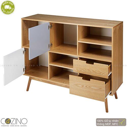 Tủ kệ trưng bày SENJA Vintage gỗ tự nhiên (2 cánh, 2 ngăn)- đẹp, giá rẻ tại hcm và hà nội