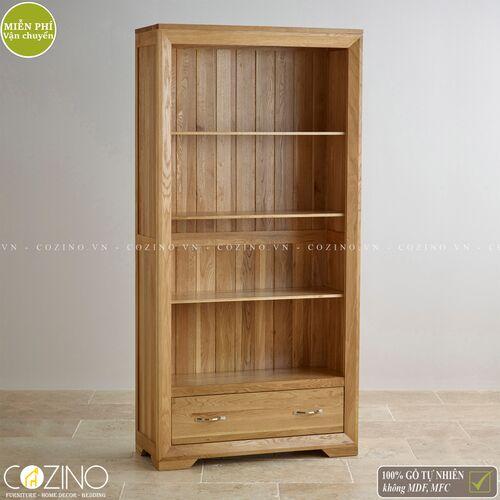 Tủ kệ sách và trưng bày Camber cao gỗ sồi Mỹ- đẹp, giá rẻ tại hcm và hà nội