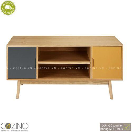 Tủ tivi SENJA gỗ tự nhiên 2 cánh xám-vàng- đẹp, giá rẻ tại hcm và hà nội