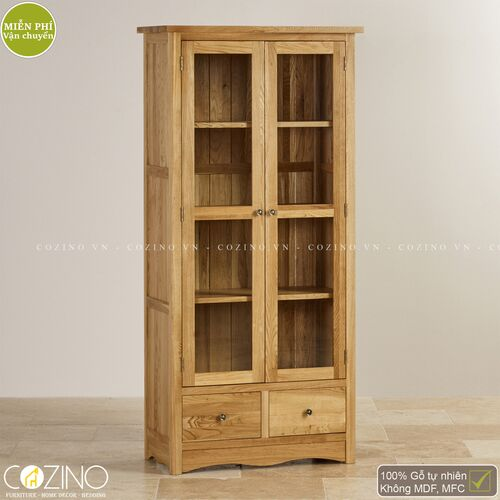Tủ kệ sách và trưng bày cánh kính Cawood gỗ sồi 1m Mỹ- đẹp, giá rẻ tại hcm và hà nội