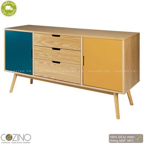 Tủ trưng bày lưu trữ SENJA gỗ tự nhiên 3 ngăn 2 cánh xanh vàng- đẹp, giá rẻ tại hcm và hà nội