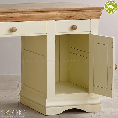 Bàn làm việc Canary có 2 tủ hông gỗ sồi Mỹ- đẹp, giá rẻ tại hcm và hà nội