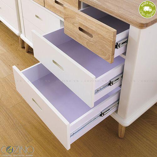 Tủ ngăn kéo Canna 7 hộc gỗ cao su- đẹp, giá rẻ tại hcm và hà nội