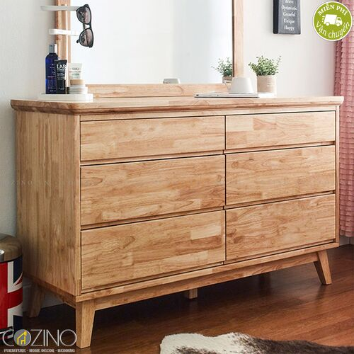 Tủ 6 ngăn kéo 3 tầng IXORA gỗ cao su (không có gương)- đẹp, giá rẻ tại hcm và hà nội