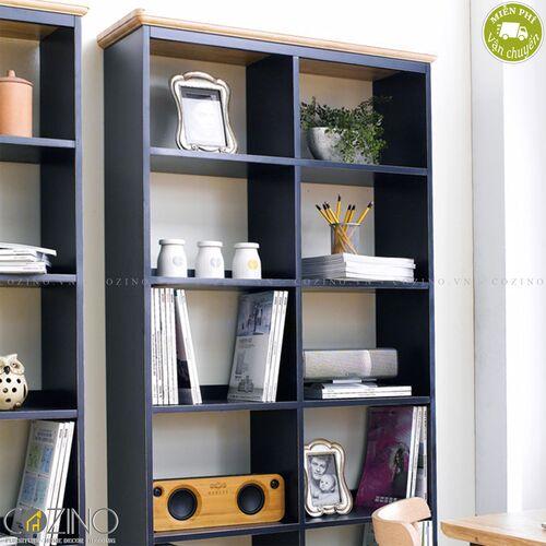 Tủ sách và trưng bày Lantana loại lớn gỗ cao su- đẹp, giá rẻ tại hcm và hà nội