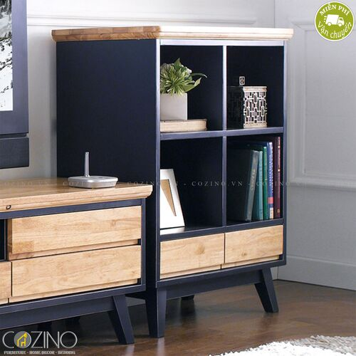 Tủ sách và trưng bày thấp Lantana gỗ cao su- đẹp, giá rẻ tại hcm và hà nội