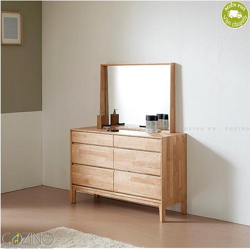 Tủ 6 ngăn kéo 3 tầng kèm gương trang điểm Poppy gỗ cao su- đẹp, giá rẻ tại hcm và hà nội