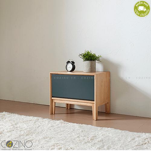 Tủ đầu giường, tủ góc 1 ngăn kéo Poppy gỗ cao su mặt sơn xanh- đẹp, giá rẻ tại hcm và hà nội