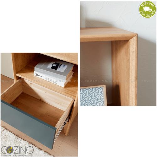 Tủ trưng bày, tủ góc 1 ngăn kéo Poppy gỗ cao su mặt sơn xanh- đẹp, giá rẻ tại hcm và hà nội