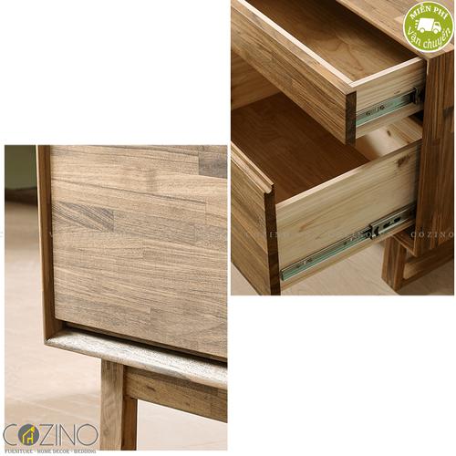 Tủ đầu giường 2 ngăn kéo Begonia 2 hộc gỗ cao su- đẹp, giá rẻ tại hcm và hà nội