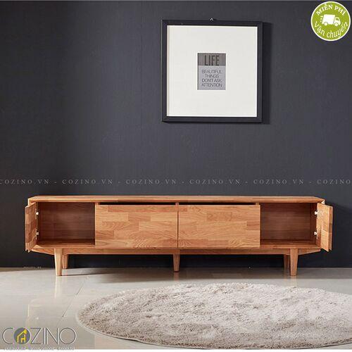 Tủ tivi 2 cánh 2 ngăn kéo Calla A gỗ cao su- đẹp, giá rẻ tại hcm và hà nội