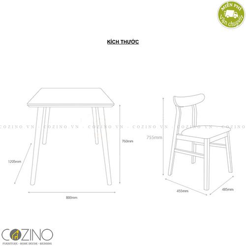 Bộ bàn ăn 4 ghế Lunar màu tự nhiên 1m2- đẹp, giá rẻ tại hcm và hà nội