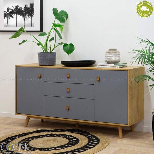 Tủ trưng bày Blake gỗ tự nhiên màu ghi- đẹp, giá rẻ tại hcm và hà nội