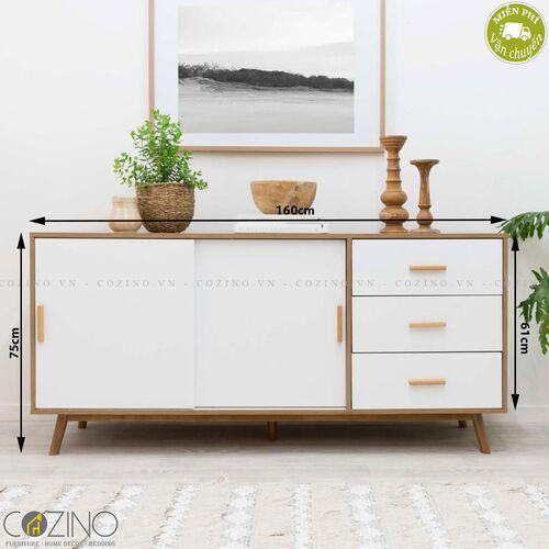Tủ trưng bày lớn Blake gỗ tự nhiên màu trắng- đẹp, giá rẻ tại hcm và hà nội