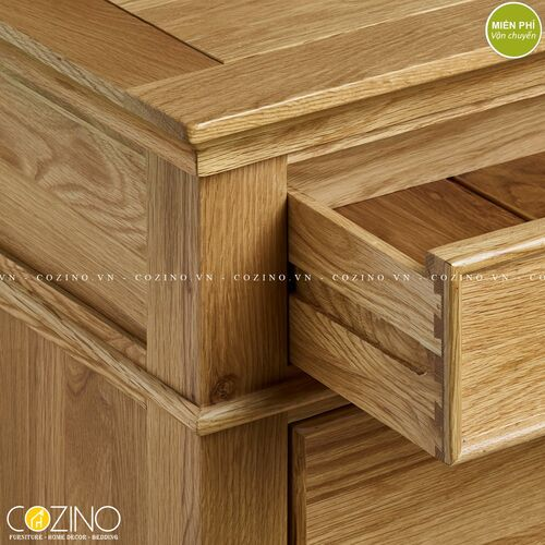 Tủ chén đĩa Holy gỗ sồi Mỹ ngang 1m4- đẹp, giá rẻ tại hcm và hà nội