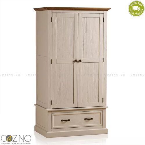 Tủ quần áo Sark 2 cánh 1 ngăn kéo gỗ sồi Mỹ (nhiều kích thước)- đẹp, giá rẻ tại hcm và hà nội