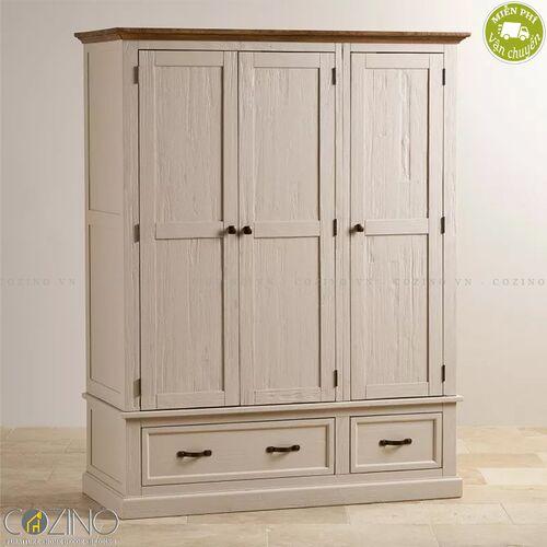 Tủ quần áo Sark 3 cánh 2 ngăn kéo gỗ sồi Mỹ- đẹp, giá rẻ tại hcm và hà nội