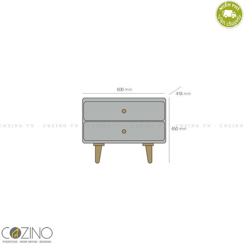 Tủ ngăn kéo Pansy 2 hộc gỗ cao su- đẹp, giá rẻ tại hcm và hà nội