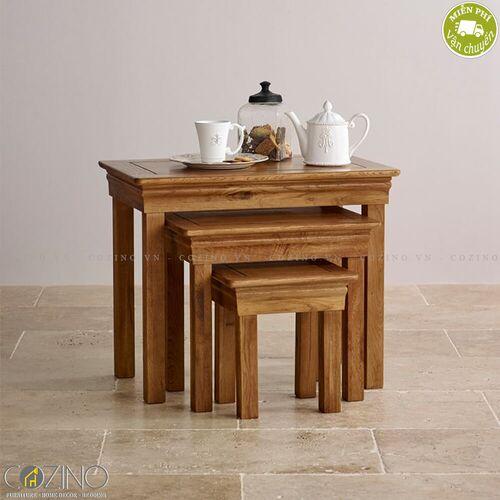 Bộ bàn xếp lồng French Farmhouse 100% gỗ sồi Mỹ- đẹp, giá rẻ tại hcm và hà nội