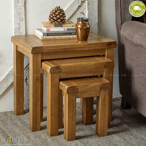 Bộ bàn xếp lồng Original Rustic 100% gỗ sồi Mỹ- đẹp, giá rẻ tại hcm và hà nội