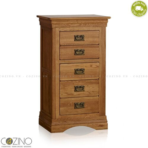 Tủ 5 ngăn kéo 5 tầng French Farmhouse gỗ sồi Mỹ- đẹp, giá rẻ tại hcm và hà nội