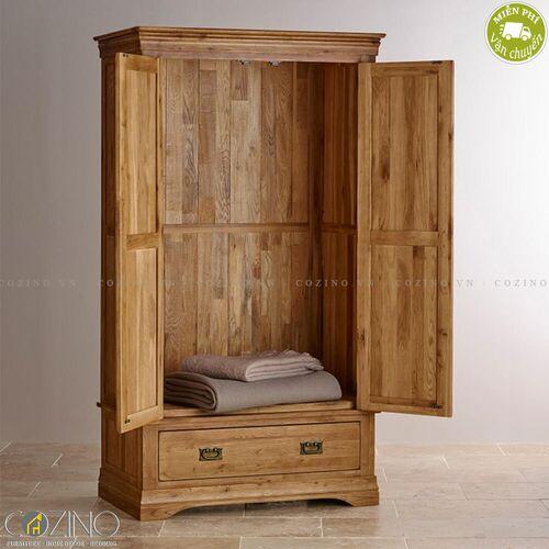 Tủ quần áo French Farmhouse 2 cánh 1 ngăn kéo gỗ sồi Mỹ (nhiều kích thước)- đẹp, giá rẻ tại hcm và hà nội
