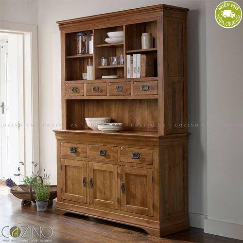 Tủ bếp lớn French Farmhouse gỗ sồi Mỹ 1m4- đẹp, giá rẻ tại hcm và hà nội