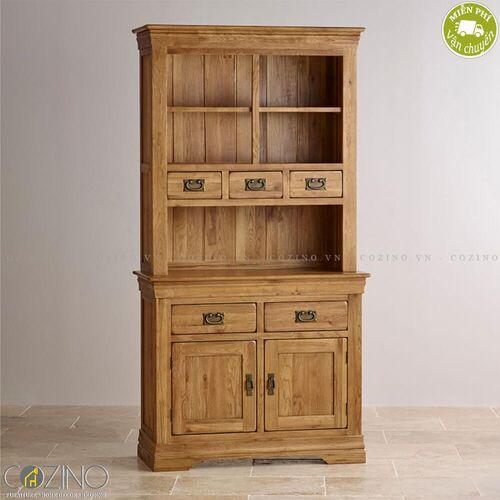 Tủ bếp nhỏ French Farmhouse gỗ sồi Mỹ 1m- đẹp, giá rẻ tại hcm và hà nội