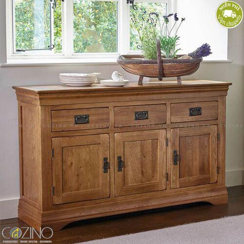 Tủ chén lớn French Farmhouse gỗ sồi Mỹ 1m4- đẹp, giá rẻ tại hcm và hà nội