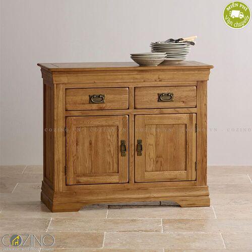 Tủ chén nhỏ French Farmhouse gỗ sồi Mỹ 1m- đẹp, giá rẻ tại hcm và hà nội