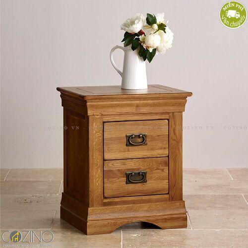 Tủ đầu giường French Farmhouse 2 ngăn gỗ sồi Mỹ- đẹp, giá rẻ tại hcm và hà nội