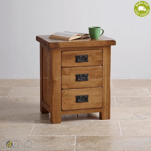 Tủ đầu giường Original Rustic 3 ngăn gỗ sồi Mỹ- đẹp, giá rẻ tại hcm và hà nội