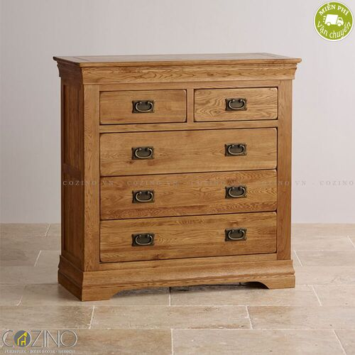 Tủ 5 ngăn kéo 4 tầng French Farmhouse gỗ sồi Mỹ- đẹp, giá rẻ tại hcm và hà nội