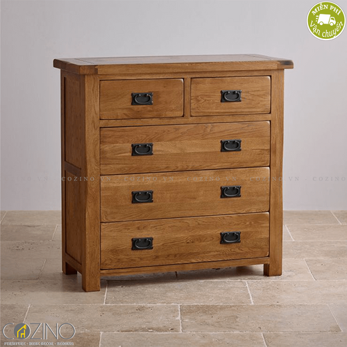 Tủ 5 ngăn kéo 4 tầng Original Rustic gỗ sồi Mỹ- đẹp, giá rẻ tại hcm và hà nội